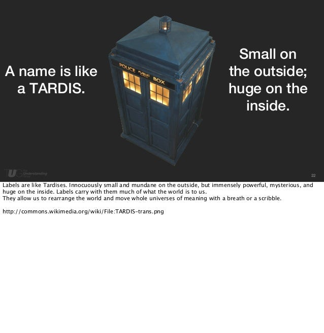 22  A name is like  a TARDIS.  Small on  the outside;  huge on the  inside.  Labels are like Tardises. Innocuously small a...
