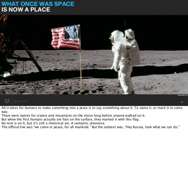 WHAT ONCE WAS SPACE  IS NOW A PLACE  wikimedia.org  30  All it takes for humans to make something into a place is to say s...