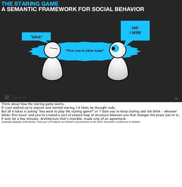 """THE STARING GAME  A SEMANTIC FRAMEWORK FOR SOCIAL BEHAVIOR  38  *blink*  HA!  I WIN!  """"First one to blink loses""""  Think ab..."""