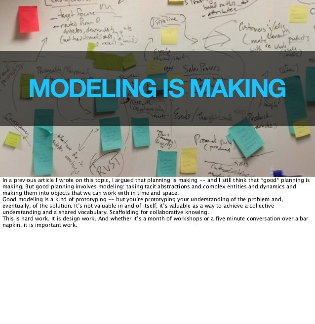 43  MODELING IS MAKING  In a previous article I wrote on this topic, I argued that planning is making -- and I still think...