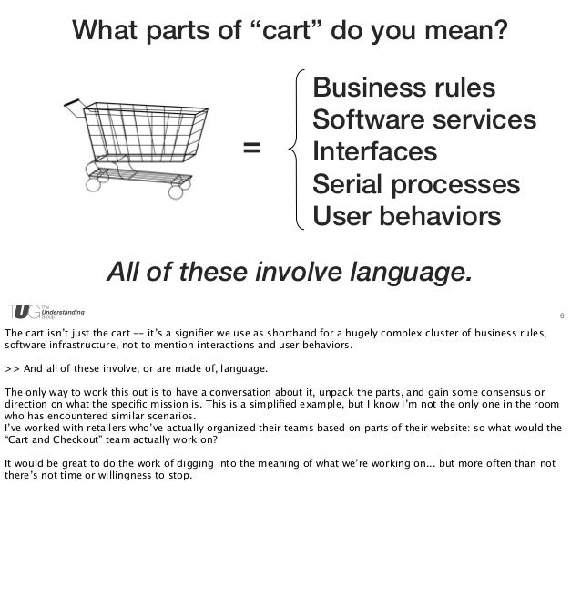 """6  What parts of """"cart"""" do you mean?  =  Business rules  Software services  Interfaces  Serial processes  User behaviors  ..."""