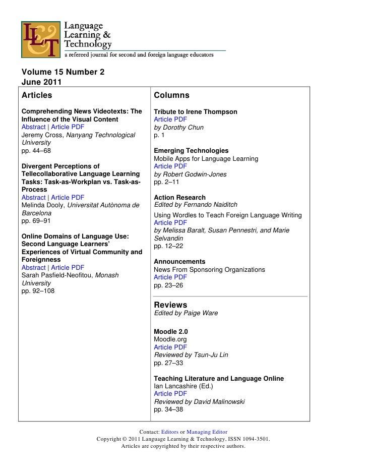 Volume 15 Number 2June 2011Articles                                    ColumnsComprehending News Videotexts: The          ...