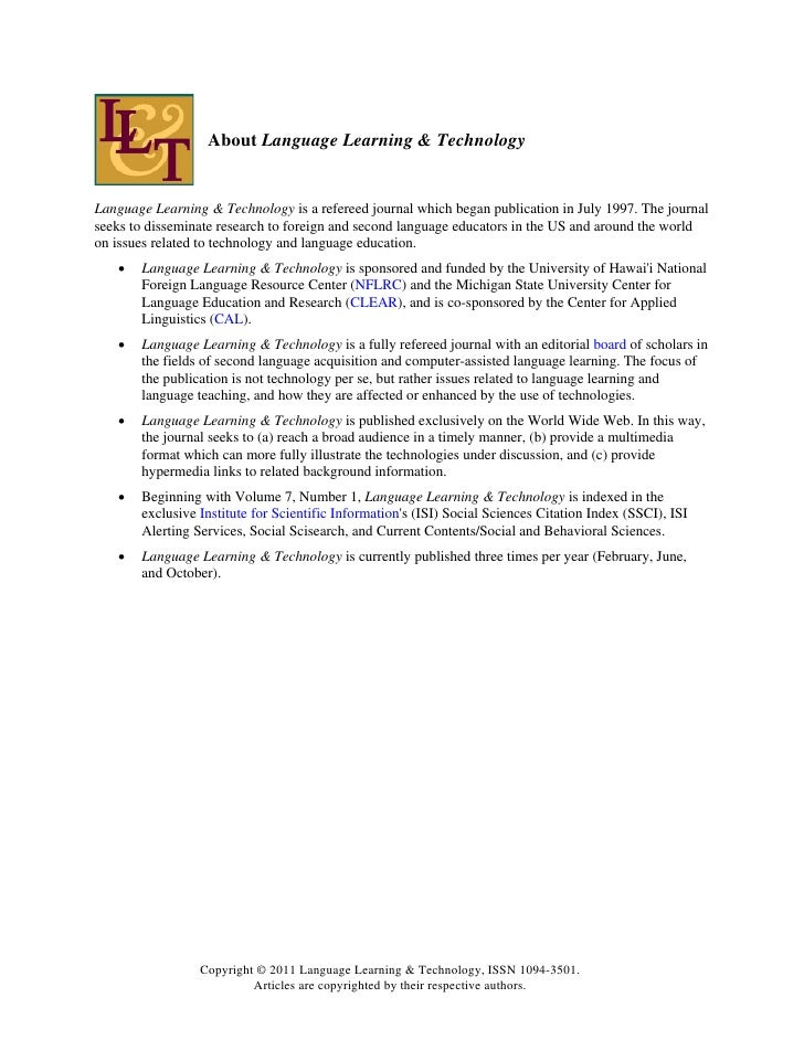 technology on language learning Technology & english language learners english language learners' experience with technology can vary greatly from one a free website focused on learning and.