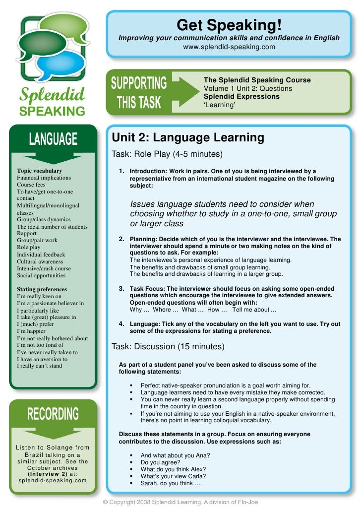 Get Speaking!                                             Improving your communication skills and confidence in English   ...