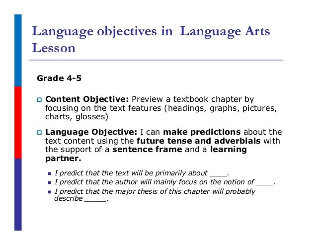 Language Objectives for Elementary ELLs: Rigor in Reading and Writing