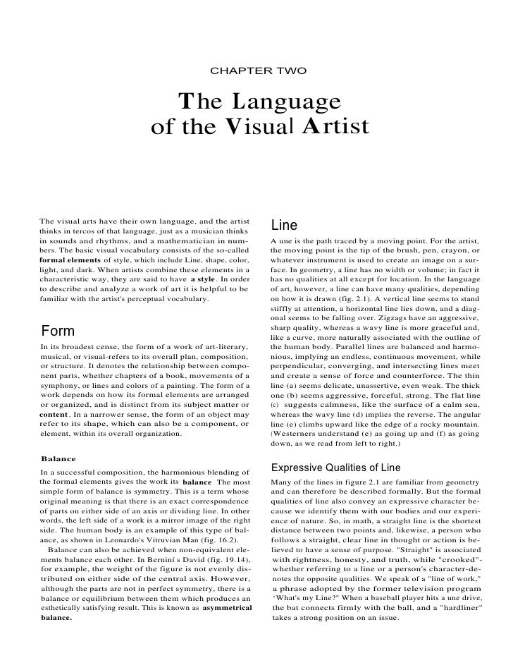 CHAPTER TWO                                     T he Language                                 of the Visua l Artist   The ...