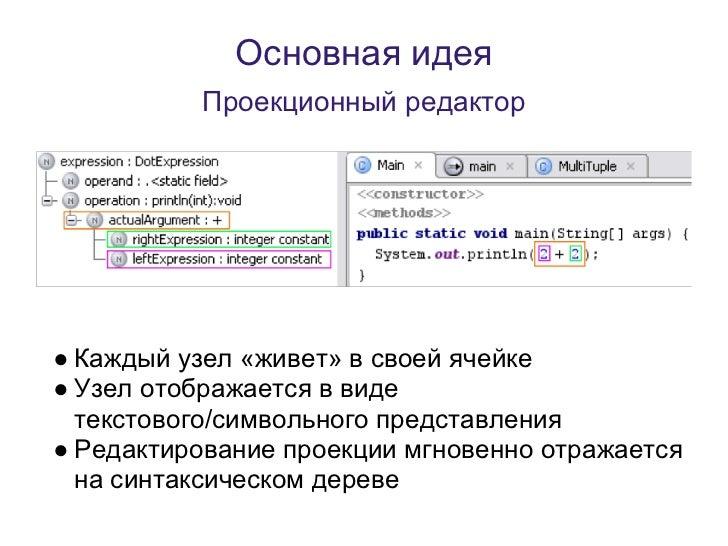 Основная идея          Проекционный редактор● Каждый узел «живет» в своей ячейке● Узел отображается в виде  текстового/сим...