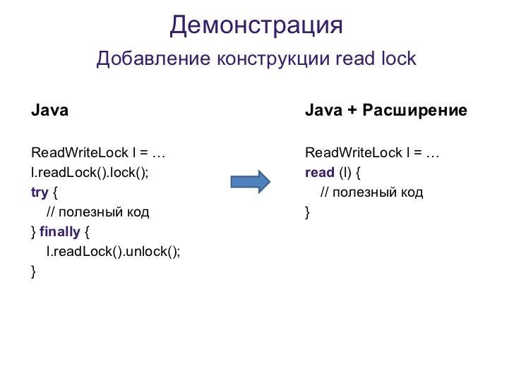 Демонстрация           Добавление конструкции read lockJava                             Java + РасширениеReadWriteLock l =...