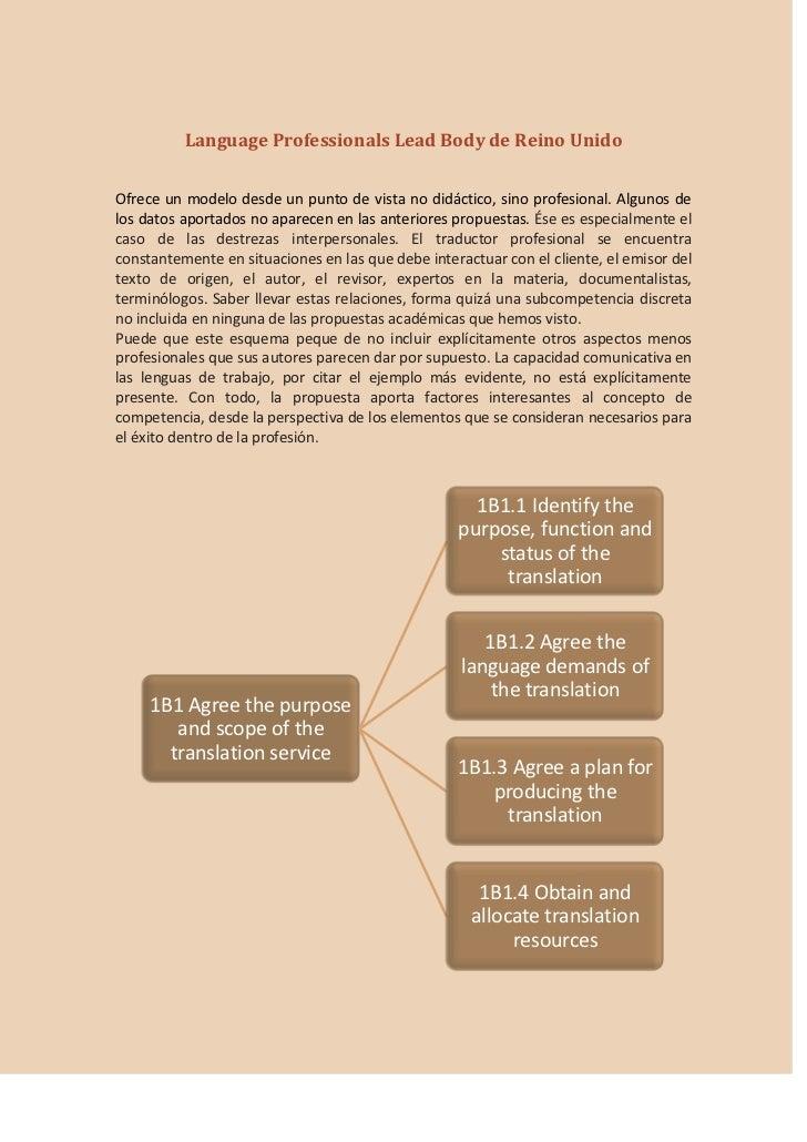 Language Professionals Lead Body de Reino UnidoOfrece un modelo desde un punto de vista no didáctico, sino profesional. Al...