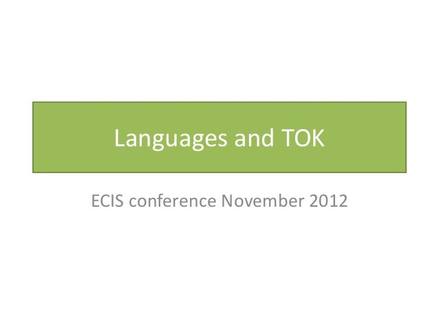 Languages and TOKECIS conference November 2012