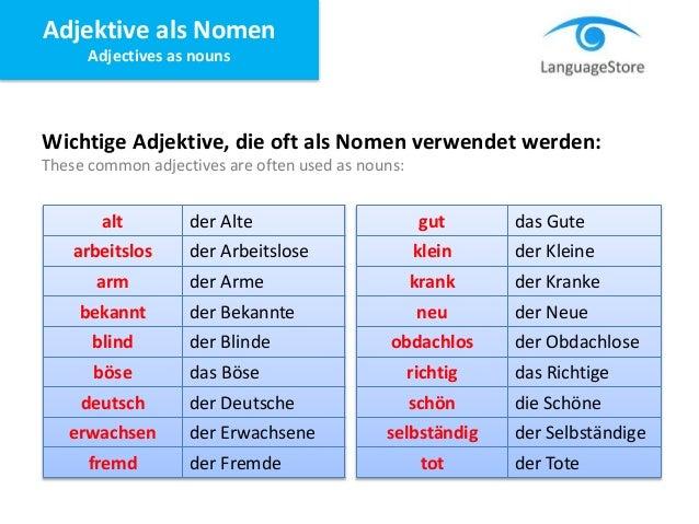 LanguageStore - Adjektive als Nomen