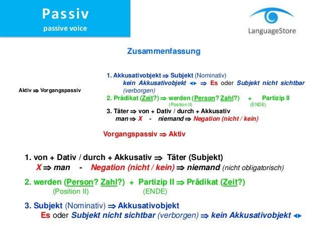 Languagestore passiv for Von akkusativ oder dativ
