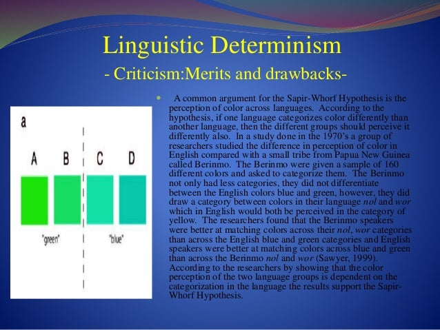 linguistic hypothesis Linguistic determinism is the idea that language shapes thought there have been myriad arguments for and against this claim the main proponent of linguistic.