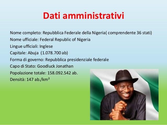 Dati amministrativiNome completo: Repubblica Federale della Nigeria( comprendente 36 stati)Nome ufficiale: Federal Republi...