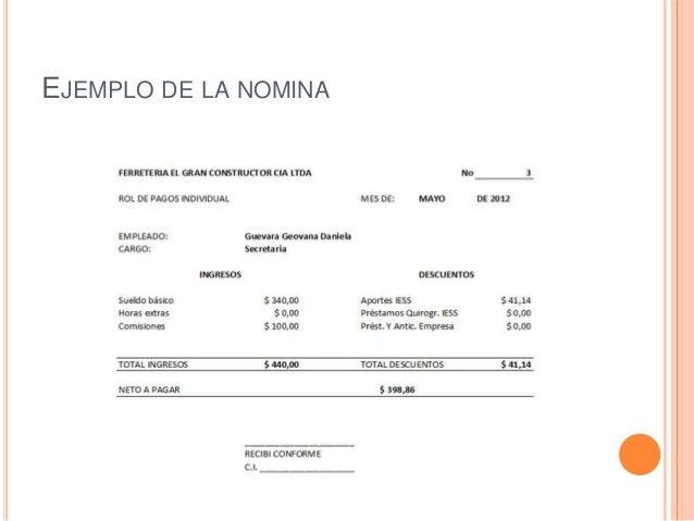 La nomina for Ejemplo nomina trabajador