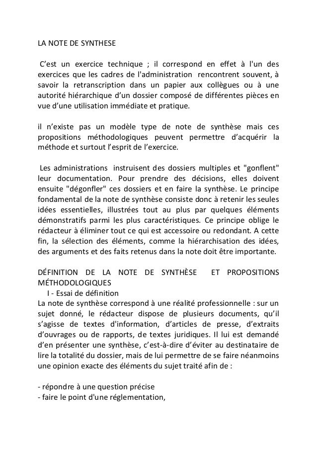 la note de synthese