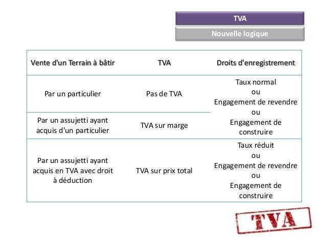 TVA                                                  Nouvelle logiqueVente dun Terrain à bâtir         TVA             Dro...