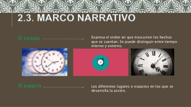 El tiempo El espacio Los diferentes lugares o espacios en los que se desarrolla la acción. Expresa el orden en que trascur...