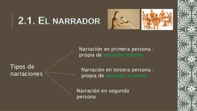 Tipos de narraciones Narración en primera persona : propia de narrador interno Narración en tercera persona : propia de na...
