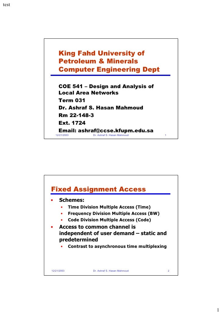 King Fahd University of       Petroleum & Minerals       Computer Engineering Dept        COE 541 – Design and Analysis of...