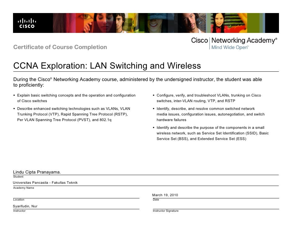 Certificate of Course Completion   CCNA Exploration: LAN Switching and Wireless During the Cisco® Networking Academy cours...