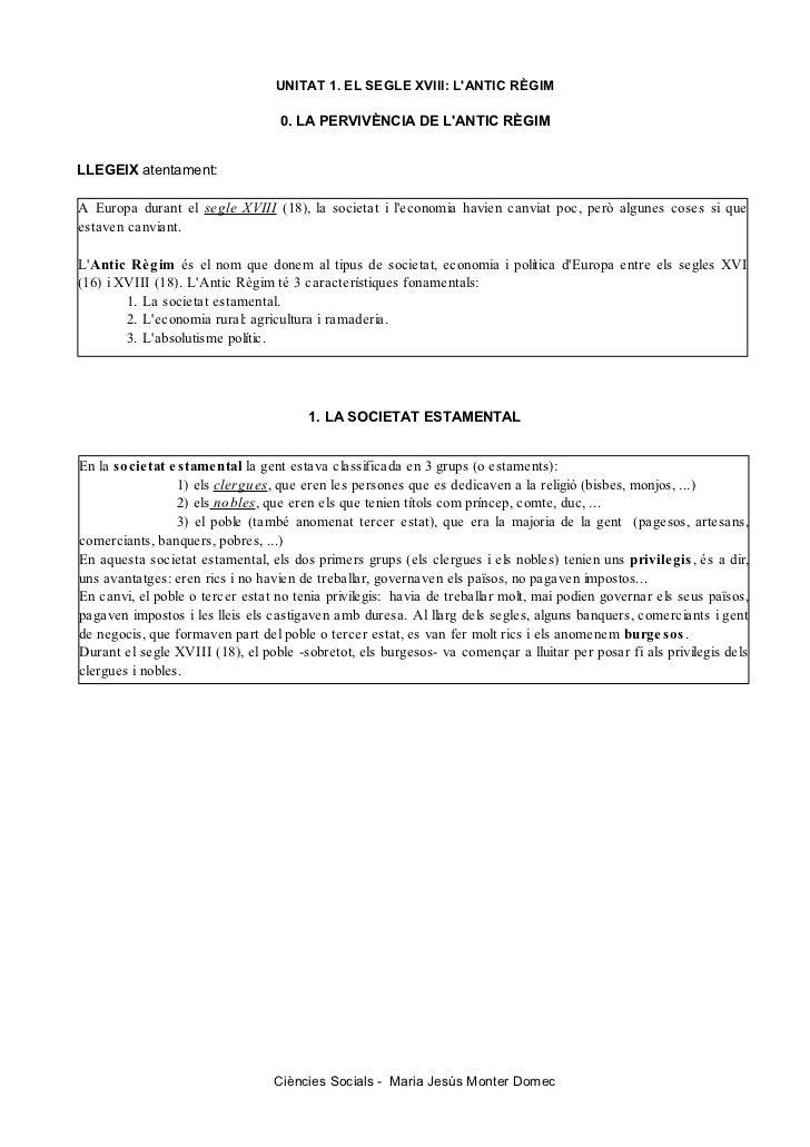 UNITAT 1. EL SEGLE XVIII: LANTIC RÈGIM                                  0. LA PERVIVÈNCIA DE LANTIC RÈGIMLLEGEIX atentamen...