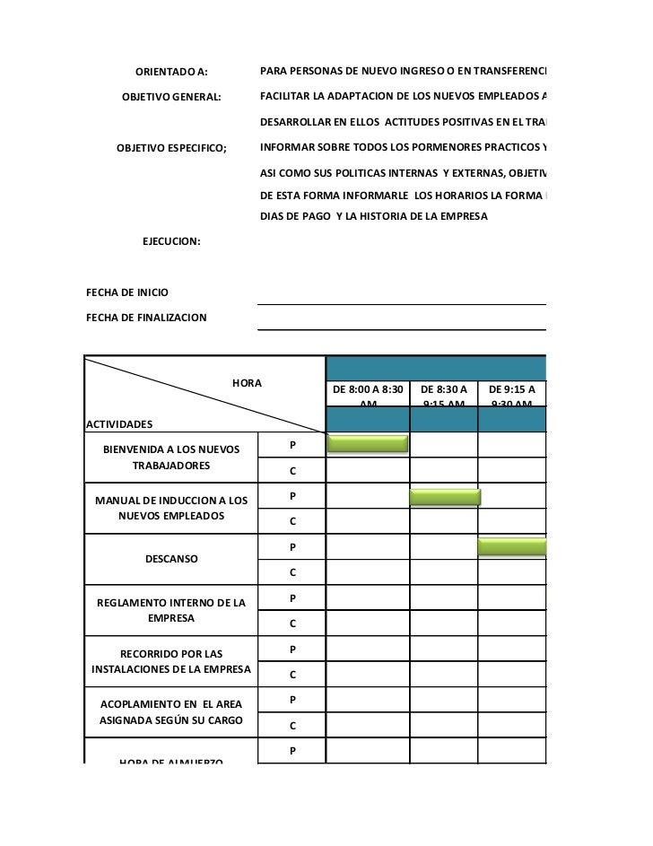 ORIENTADO A:           PARA PERSONAS DE NUEVO INGRESO O EN TRANSFERENCIA      OBJETIVO GENERAL:        FACILITAR LA ADAPTA...