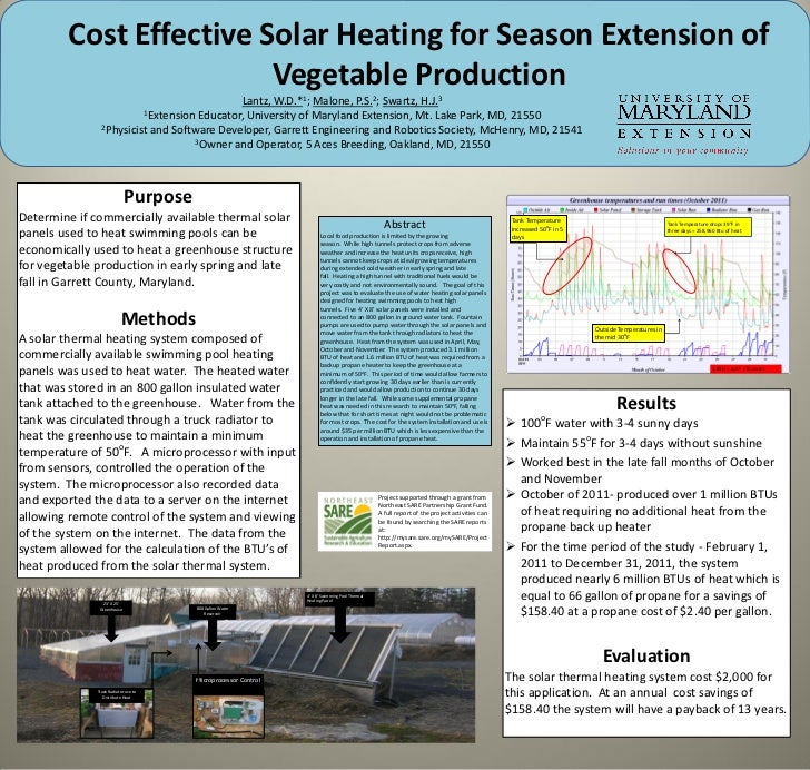 Cost Effective Solar Heating for Season Extension of                        Vegetable Production                          ...