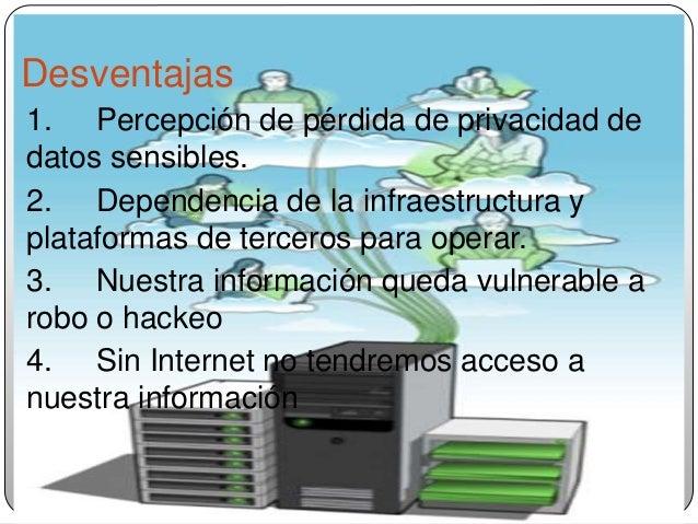 Desventajas 1. Percepción de pérdida de privacidad de datos sensibles. 2. Dependencia de la infraestructura y plataformas ...