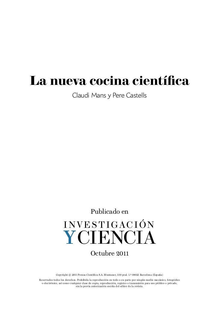 La nueva cocina científica                            Claudi Mans y Pere Castells                                         ...