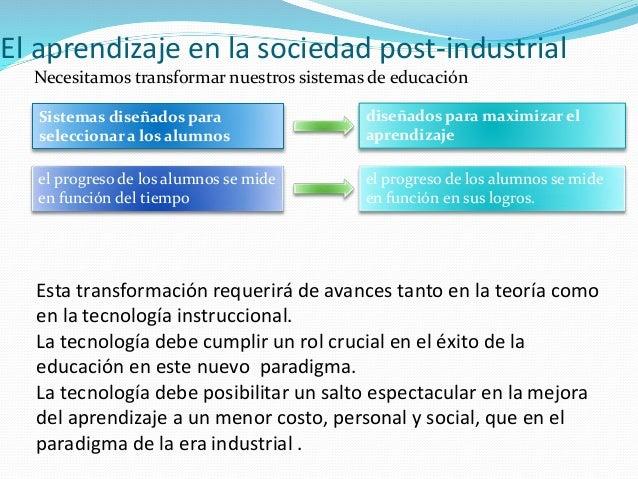 El aprendizaje en la sociedad post-industrial Necesitamos transformar nuestros sistemas de educación Sistemas diseñados pa...