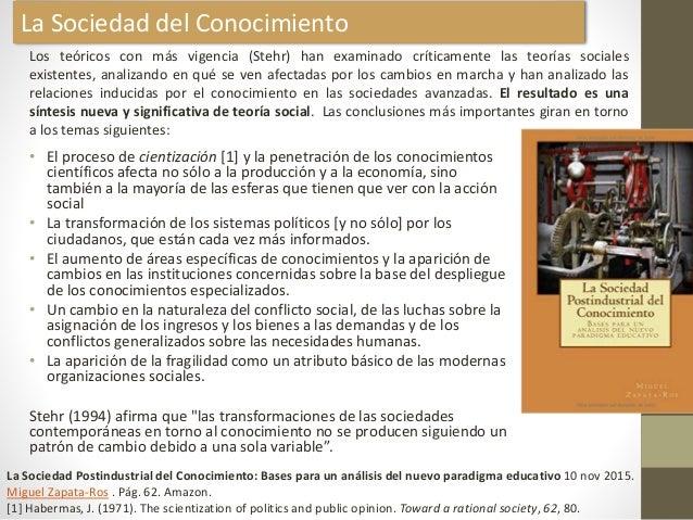 La Sociedad del Conocimiento • El proceso de cientización [1] y la penetración de los conocimientos científicos afecta no ...