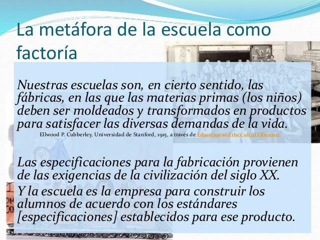 La metáfora de la escuela como factoría Nuestras escuelas son, en cierto sentido, las fábricas, en las que las materias pr...