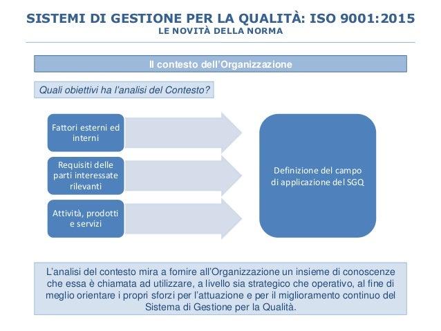 Il contesto dell'Organizzazione L'analisi del contesto mira a fornire all'Organizzazione un insieme di conoscenze che essa...