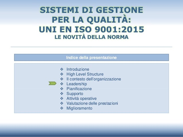 Indice della presentazione  Introduzione  High Level Structure  Il contesto dell'organizzazione  Leadership  Pianific...