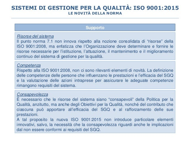 """Supporto Risorse del sistema Il punto norma 7.1 non innova rispetto alla nozione consolidata di """"risorse"""" della ISO 9001:2..."""