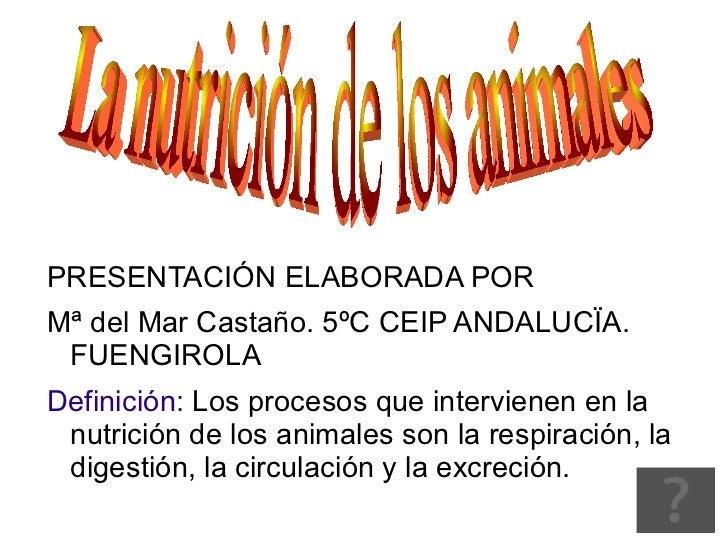 <ul>PRESENTACIÓN ELABORADA POR <li>Mª del Mar Castaño. 5ºC CEIP ANDALUCÏA. FUENGIROLA