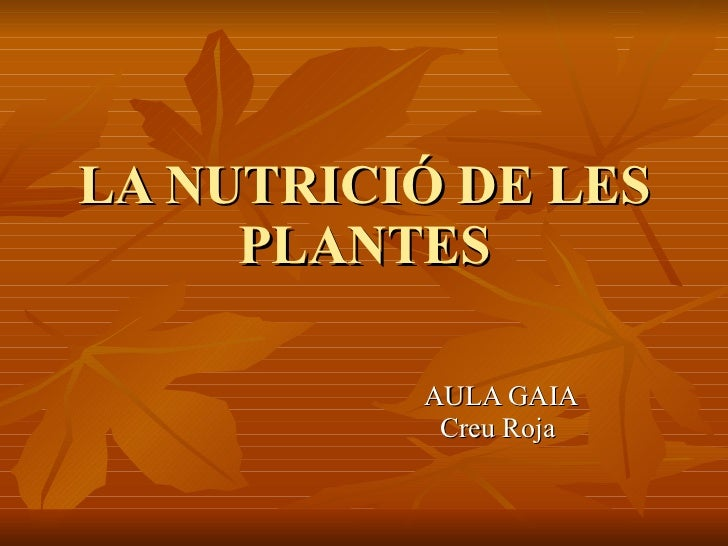 LA NUTRICIÓ DE LES PLANTES AULA GAIA Creu Roja