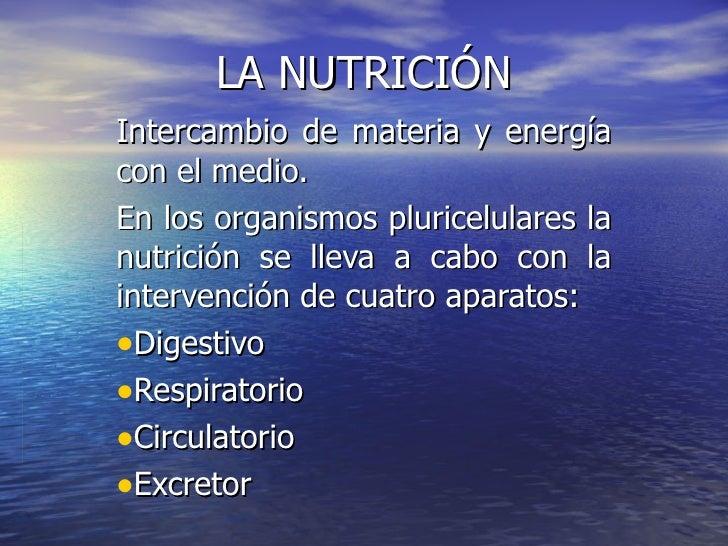 LA NUTRICIÓN <ul><li>Intercambio de materia y energía con el medio.  </li></ul><ul><li>En los organismos pluricelulares la...