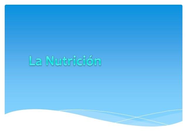 Función de nutriciónLa función de nutrición permite que las células denuestro cuerpo dispongan de la energía y de losmater...