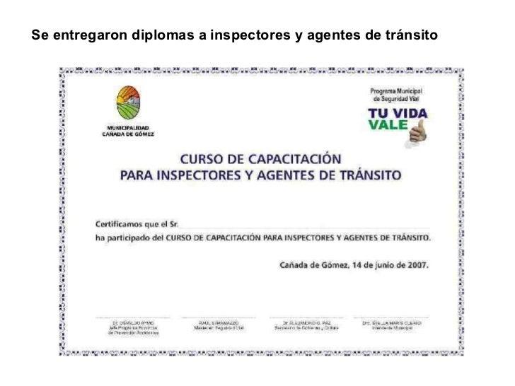 Se entregaron diplomas a inspectores y agentes de tránsito