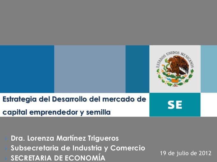 Estrategia del Desarrollo del mercado decapital emprendedor y semilla   Dra. Lorenza Martínez Trigueros   Subsecretaria ...