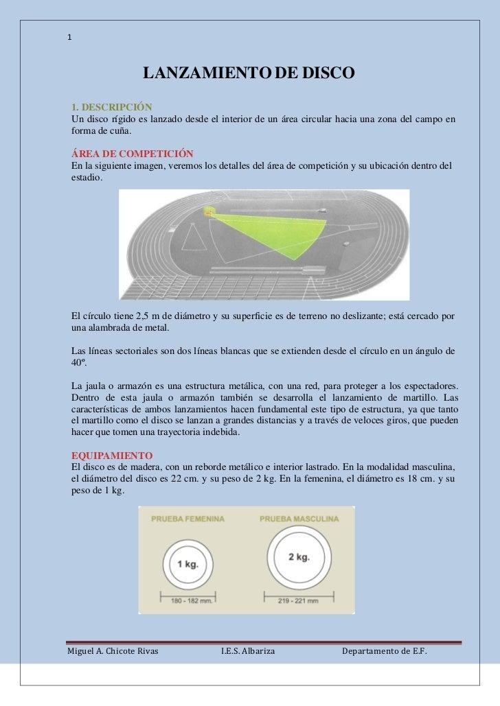 1                   LANZAMIENTO DE DISCO 1. DESCRIPCIÓN Un disco rígido es lanzado desde el interior de un área circular h...