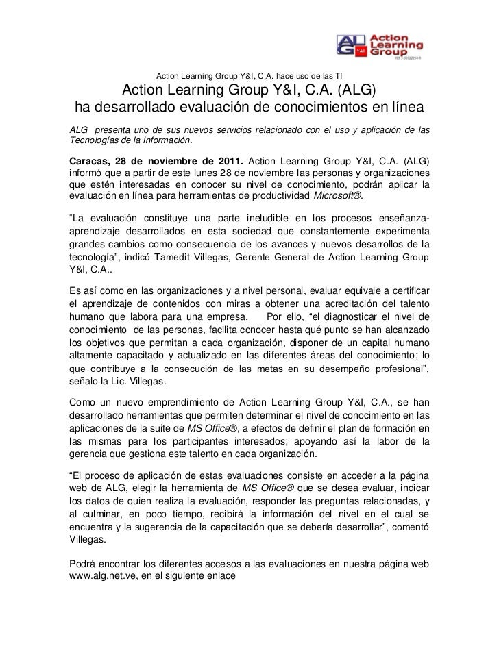 Action Learning Group Y&I, C.A. hace uso de las TI       Action Learning Group Y&I, C.A. (ALG) ha desarrollado evaluación ...