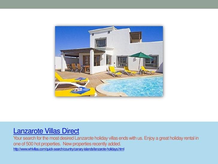 Lanzarote Villas DirectYour search for the most desired Lanzarote holiday villas ends with us. Enjoy a great holiday renta...
