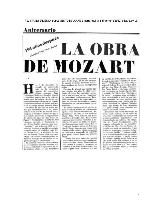 REVISTA INTERMEDIO. SUPLEMENTO DEL CARIBE. Barranquilla, 5 diciembre 1982, págs. 12 y 13                                  ...