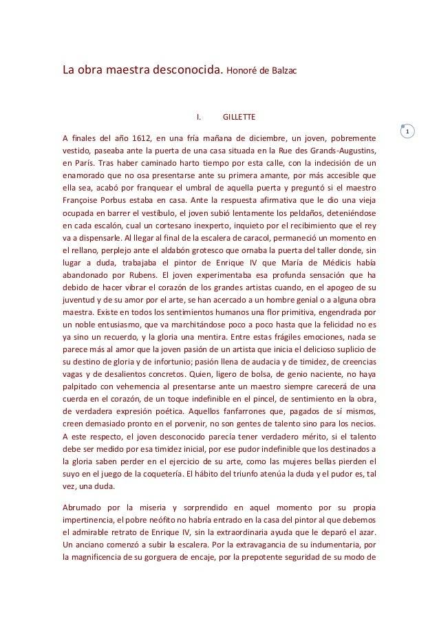 1 La obra maestra desconocida. Honoré de Balzac I. GILLETTE A finales del año 1612, en una fría mañana de diciembre, un jo...