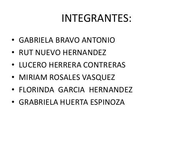 INTEGRANTES:•   GABRIELA BRAVO ANTONIO•   RUT NUEVO HERNANDEZ•   LUCERO HERRERA CONTRERAS•   MIRIAM ROSALES VASQUEZ•   FLO...