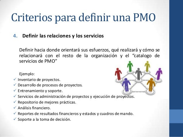 Criterios para definir una PMO 4. Definir las relaciones y los servicios Definir hacia donde orientará sus esfuerzos, qué ...
