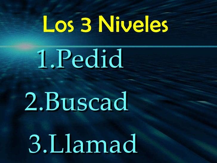 Los 3 Niveles  <ul><li>Pedid  </li></ul><ul><li>Buscad  </li></ul><ul><li>Llamad  </li></ul><ul><li>/ </li></ul>